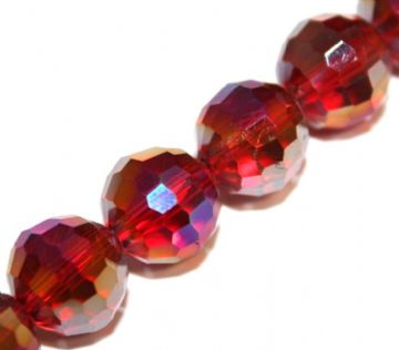 100pcs x 6mm Dark red with AB coating faceted round glass beads -- S.J -- 3005733